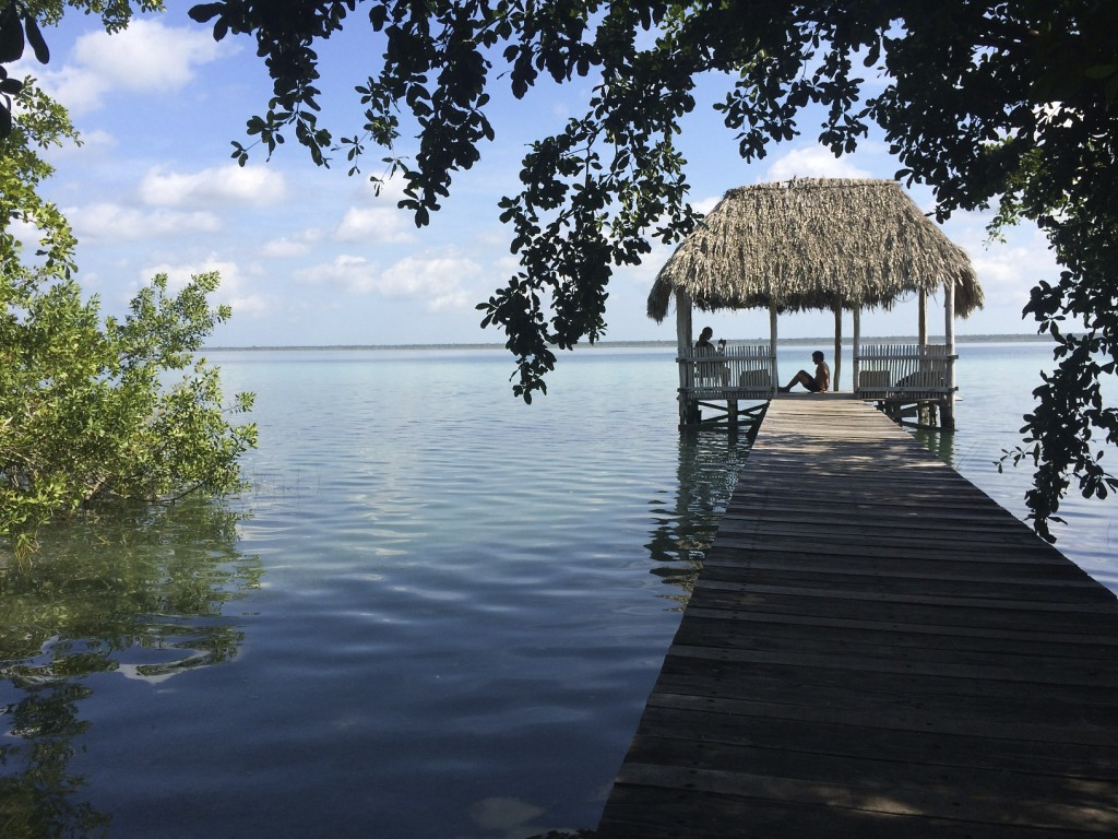View from our tent at Laguna Bacalar