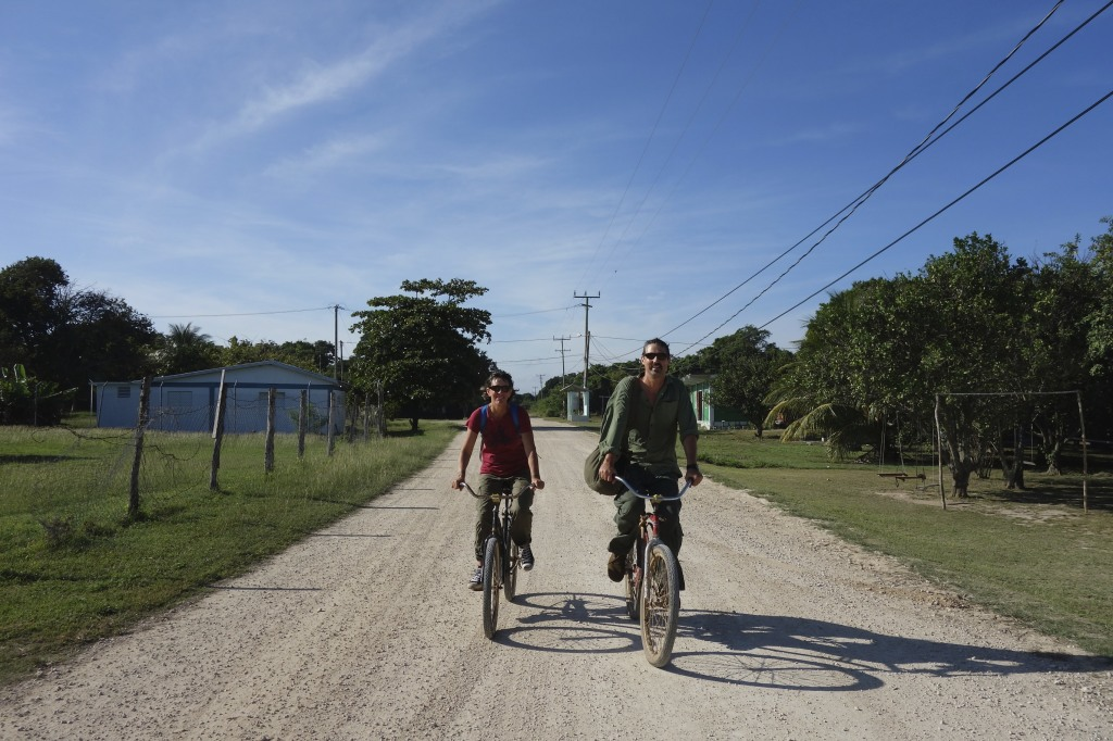 The start of our bicycle ride into the jungles of Belize in search of Mayan ruins, caves, and cenotes.