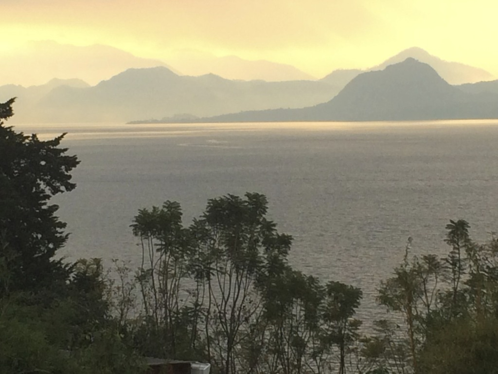 Sunrise view from our campsite at Lake Atitlan.