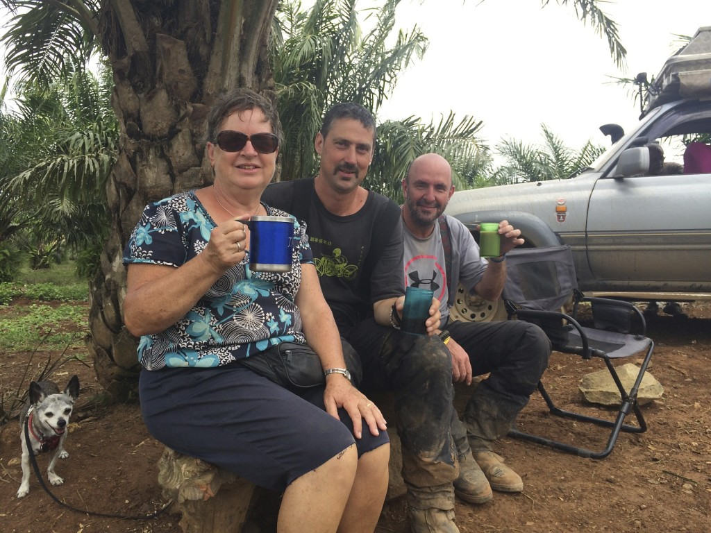 Tea and coffee in the middle of a palm oil plantation. We had biscuits too.