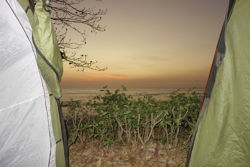 Sunset from inside the tent.
