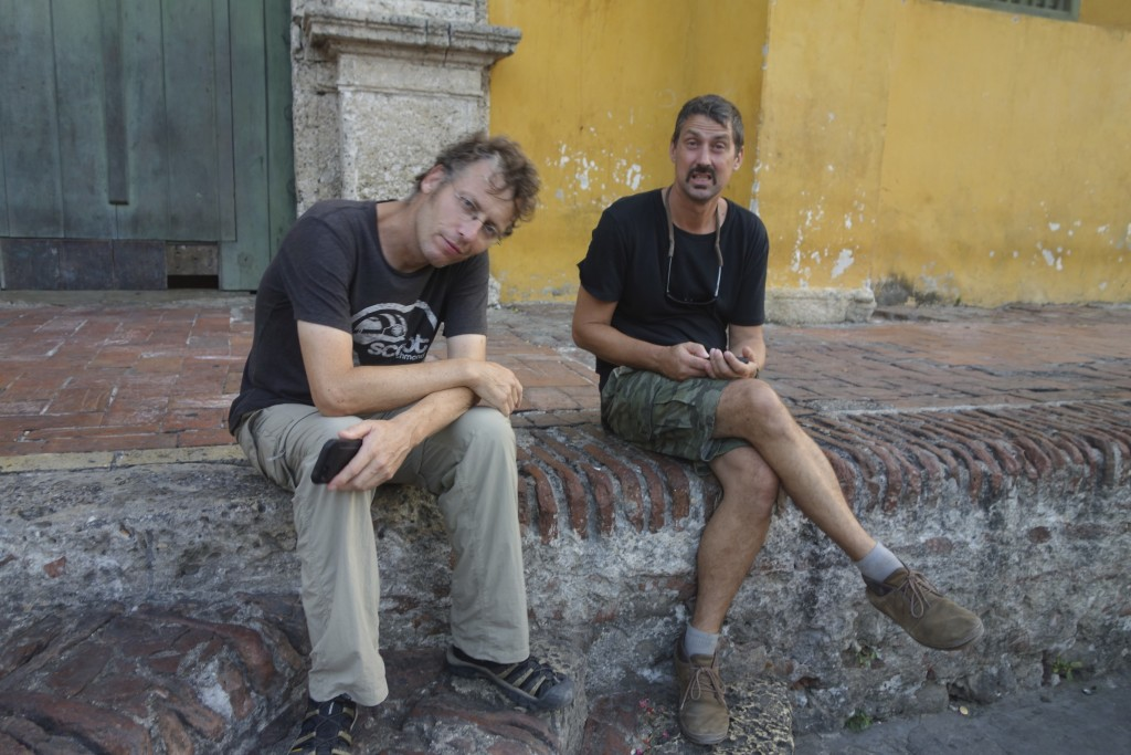 Clinton and Mike sweating their assess off on a walking tour of old town Cartagena.