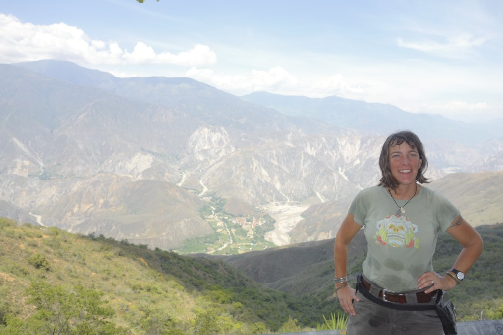 We stopped to take some photos of the spectacular canyon of Rio Chicamocha. This is also the spot where Shannon asked Mike to ride Zippy because something didn't feel right. She was right, her bike was barely ride able on the twisty road out of the valley. Shannon is one tough cookie!