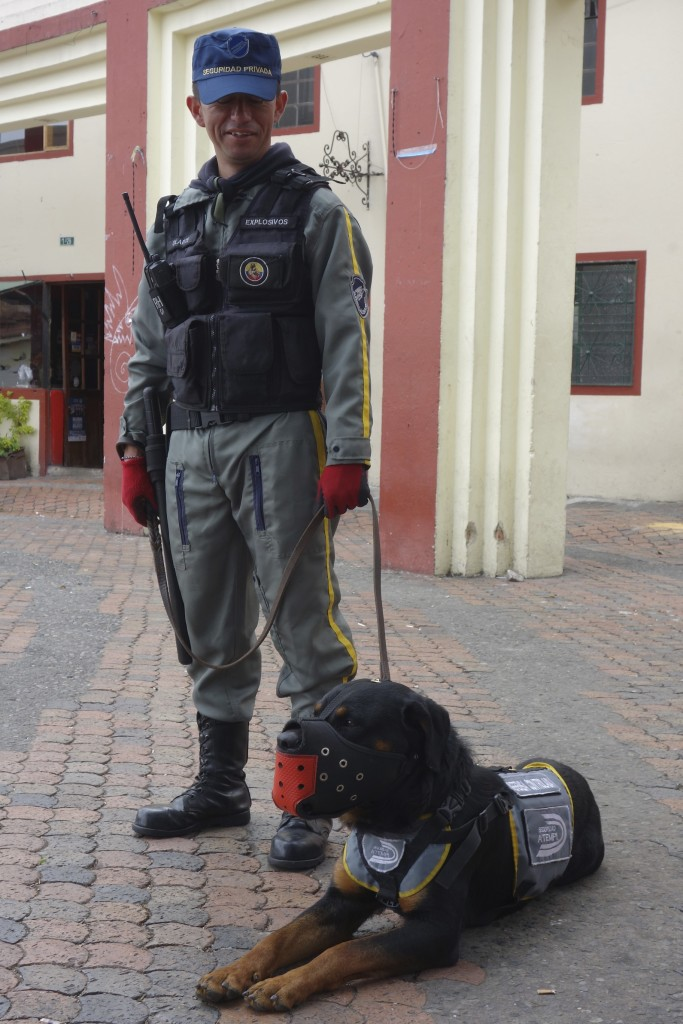Security is always high in Bogota. These two were stationed in the square to keep an eye on things.