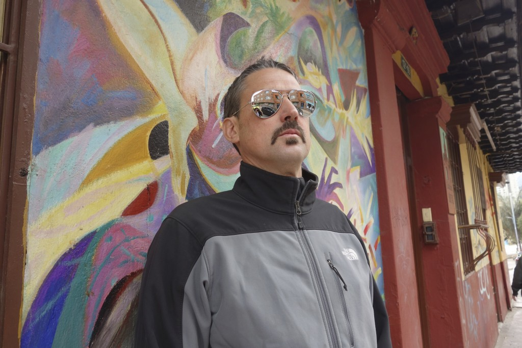 Having fun with the $2.00 mirrored cop sunnies while out on a graffiti photo expedition.