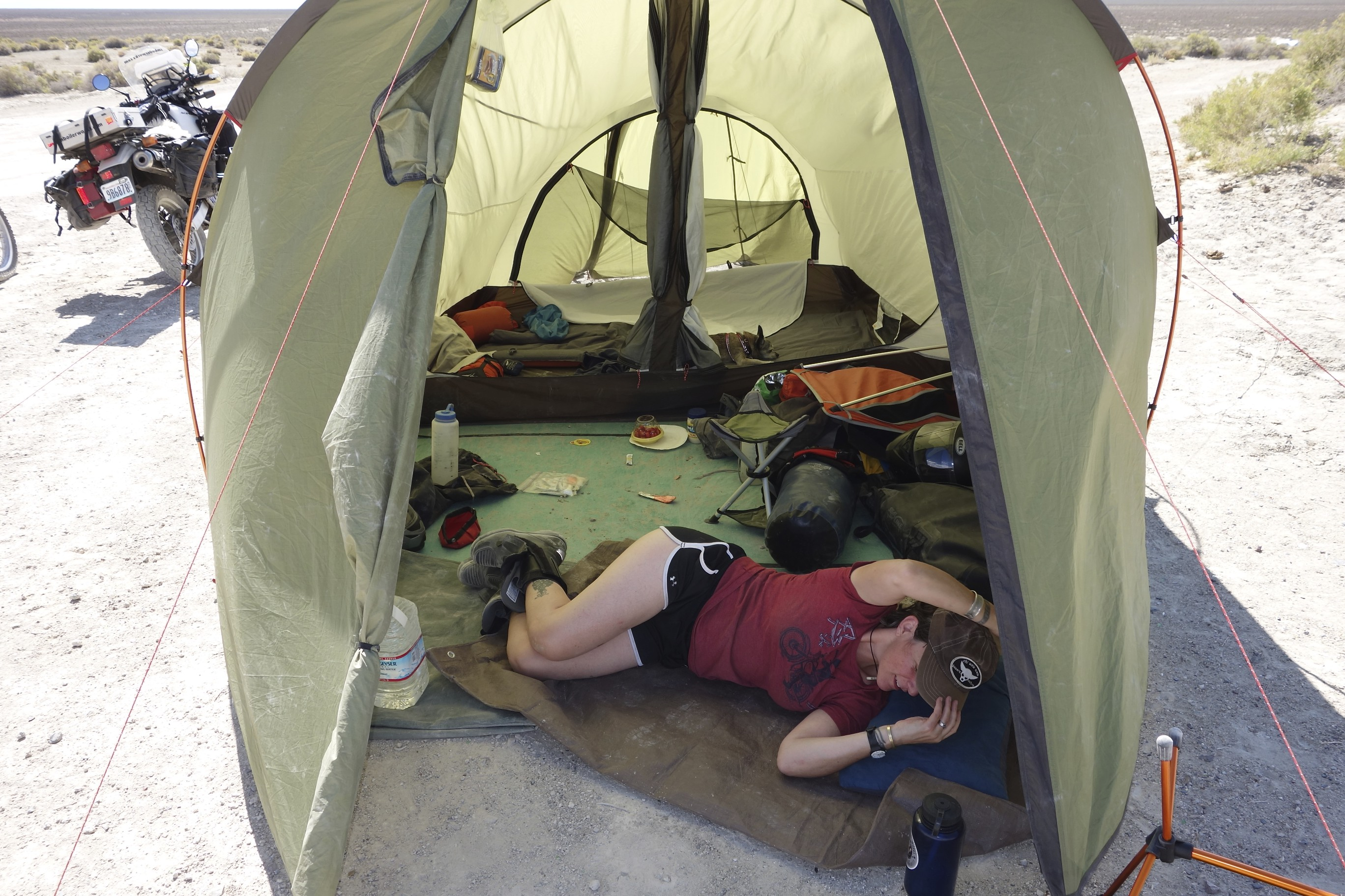 Heat wind and exhaustion create utter chaos in the tent. & Overland by motorcycle u2013 6 months and a new paradigm u2013 Su0026M Boiler ...