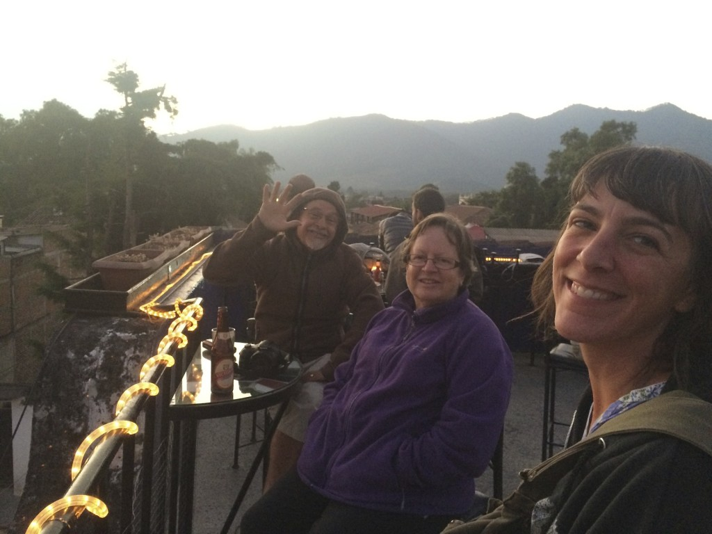 Rooftop happy hour with Mick and Chris in Antigua, Guatemala.