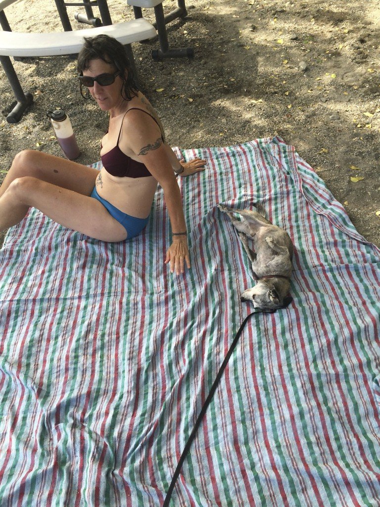 Ducati sharing HIS beach blanket with Shannon at Lake Apoyo, Nicaragua.