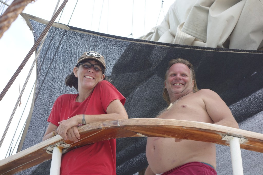 Shannon with Captain Lugwig Hoffman. LuLu, as the captain is affectionately known by his family and crew, is a character bigger than life, refreshingly irreverent, and absolutely competent. He made our time on the Stahlratte a lifelong memory. Thanks LuLu!