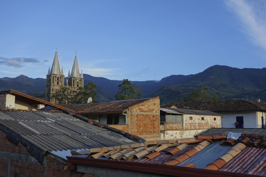 Rooftop view from our hotel. For such a small town the huge cathedral seemed a little out of place.