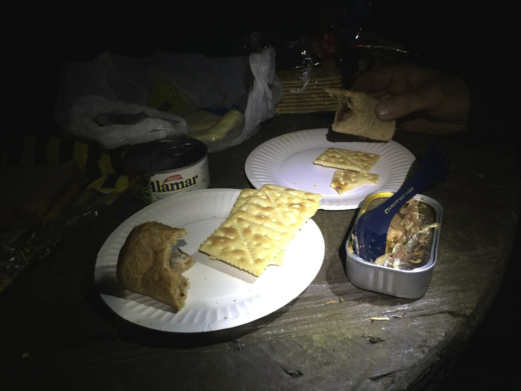 Not all meals in foreign countries are glamorous especially after a long days ride. This meal consists of tuna, sardines, saltines, bread heals and cheese.