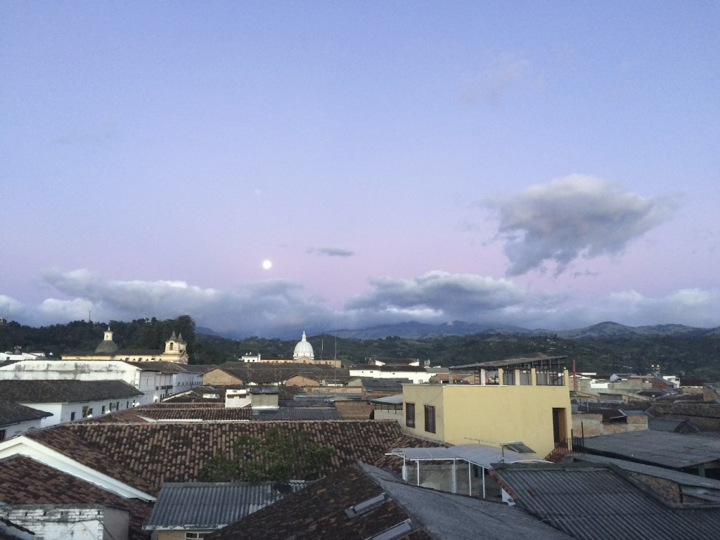 Moonrise over the city of Popayán.
