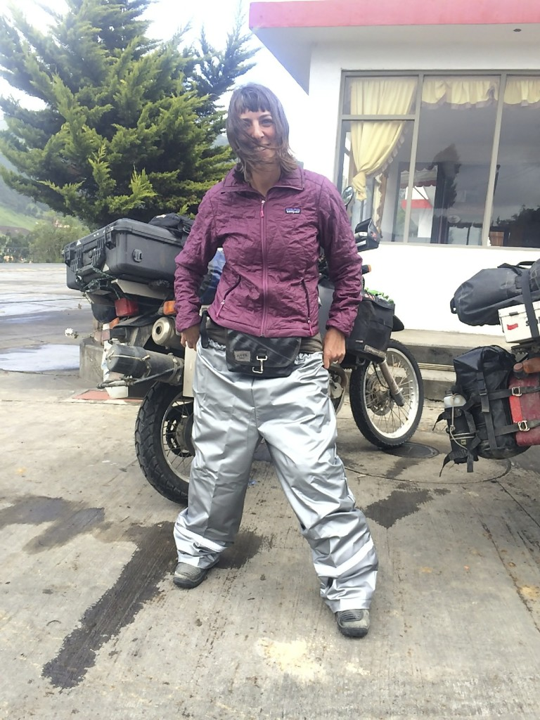 It is getting cold and wet and our current rain gear was not cutting the mustard. We invested in some local vinyl rain pants. The hideous fashion is over-ruled by how warm and dry we are now.