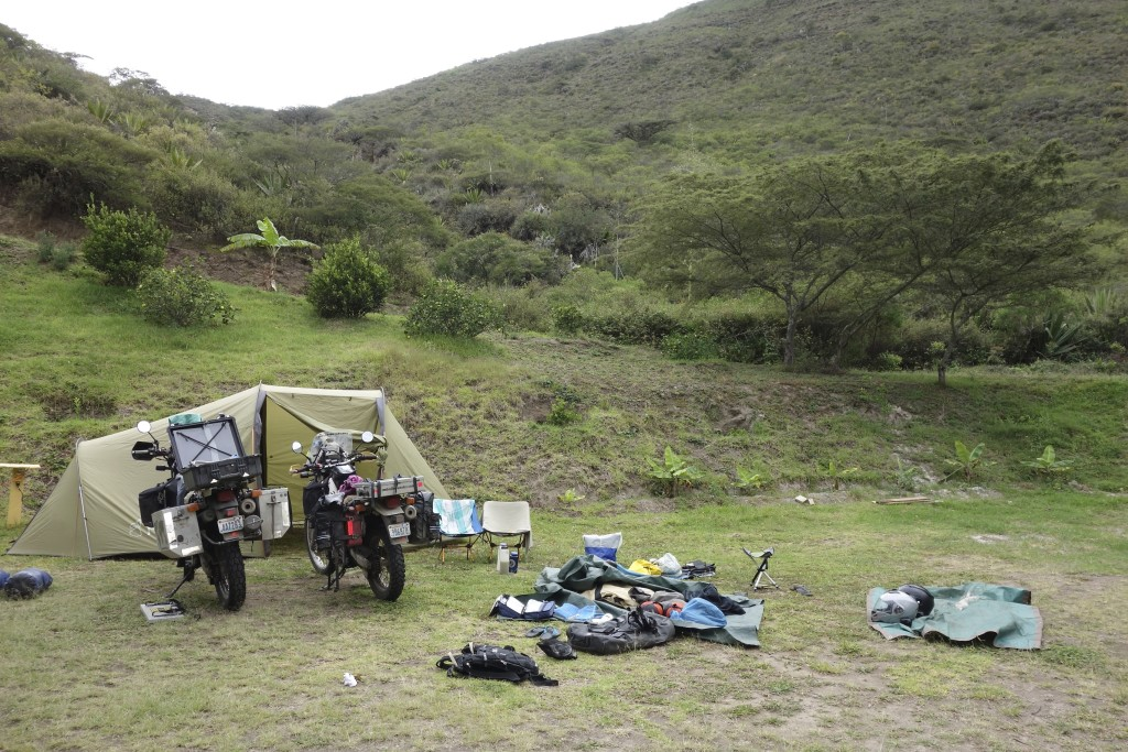 After being rained on for most of the day we pulled out all the gear to dry in the sun at camp Finca Sommerwind.