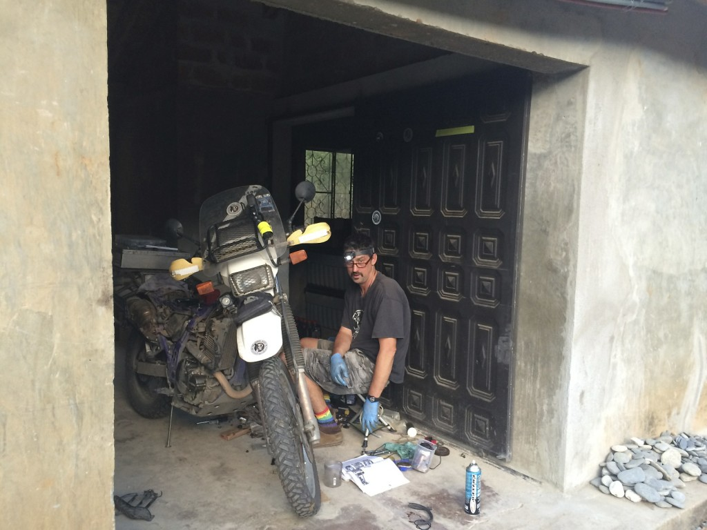 Mike spent three days giving full tuneups to both bikes in anticipation of rough roads ahead in Peru.