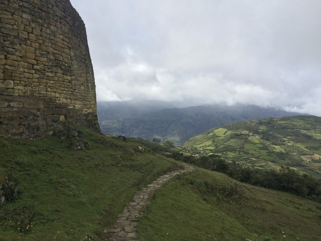 From outside the citadel wall you can see the great lengths Peruvian farmers will go to plant crops and graze their livestock on the surrounding mountainsides.
