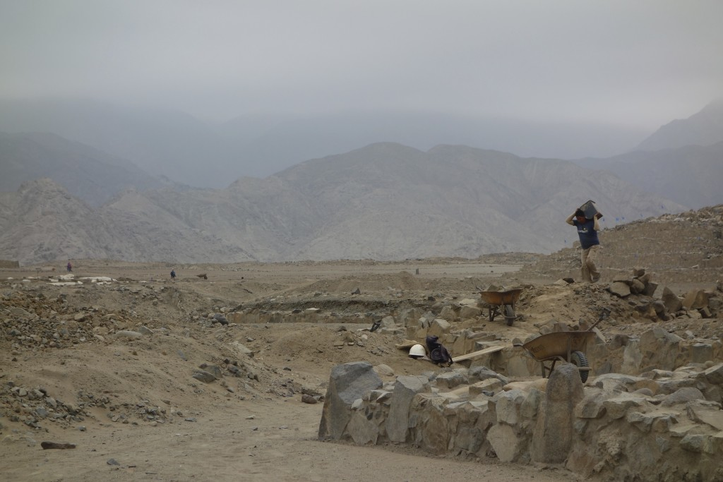 The Sacred City of Caral is a very active archeologist dig with dozens of people working throughout the site.