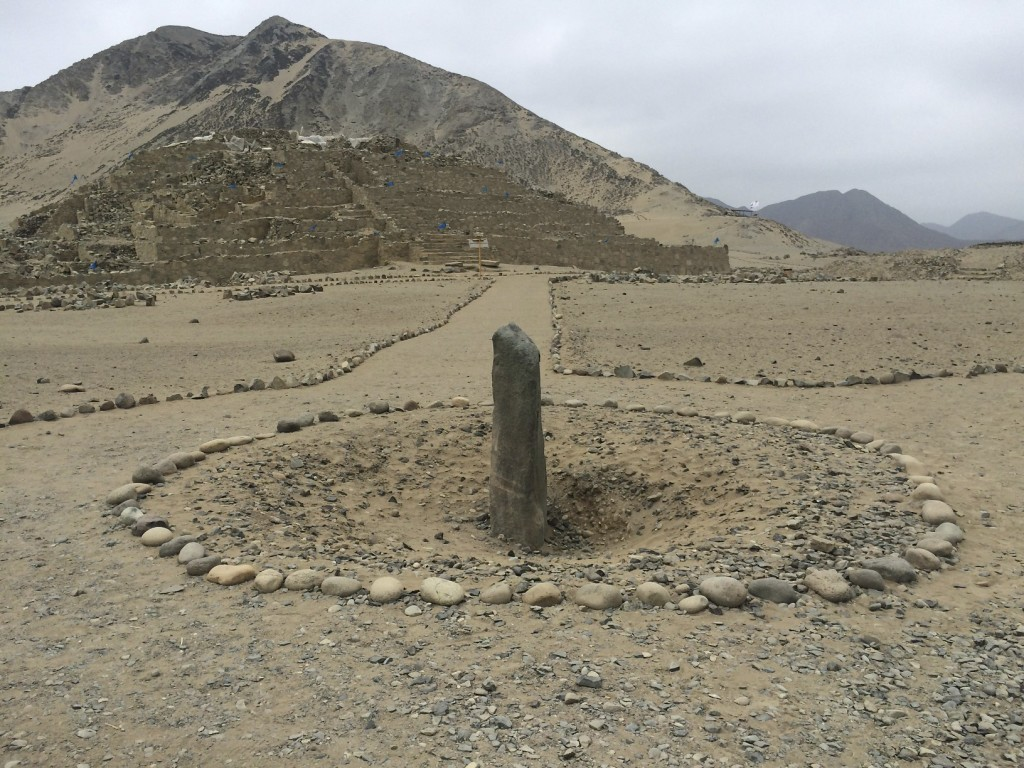 Ancient stone sundial. Sacred City of Caral.