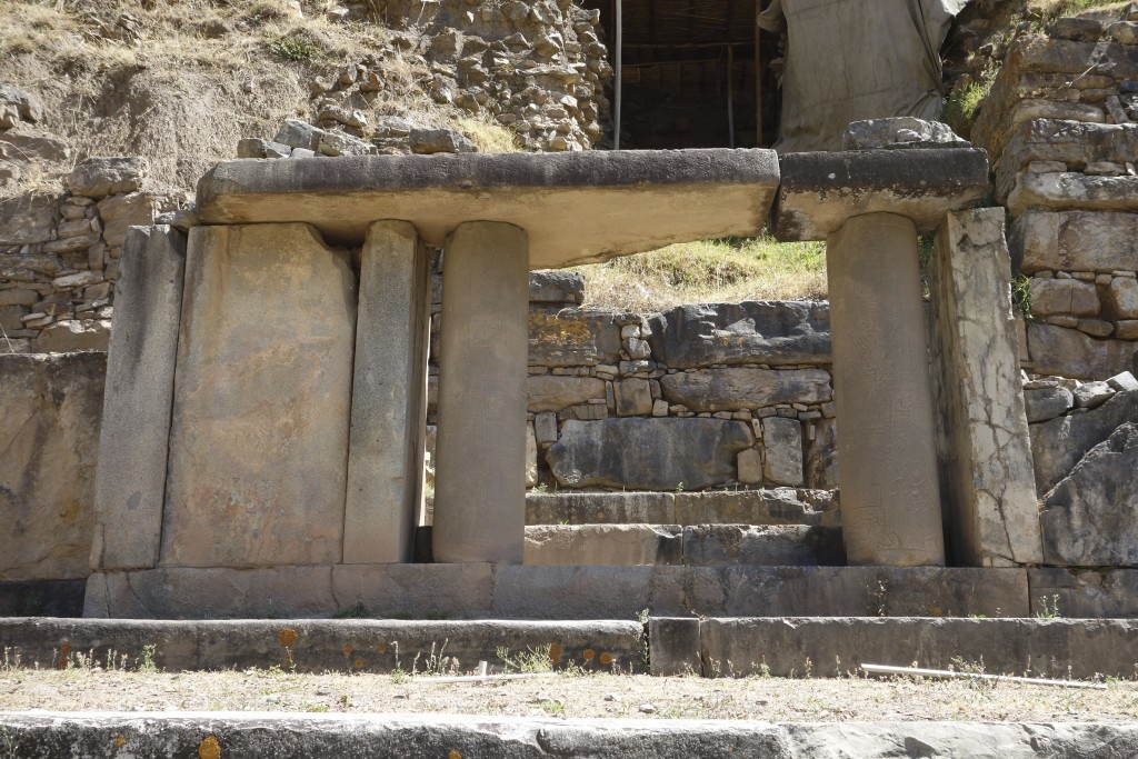 Next stop on the tour of ancient civilizations is Chavin de Huantar. This is as close as we could get to this ceremonial entrance. The round columns were covered in glyphs and carved symbols.
