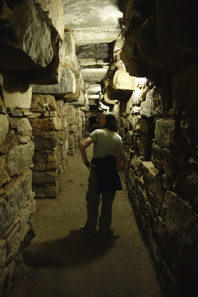 Wandering the underground labyrinths. The stone work was amazing and the size of stones holding the ceiling were incredible. Chavin de Huantar.