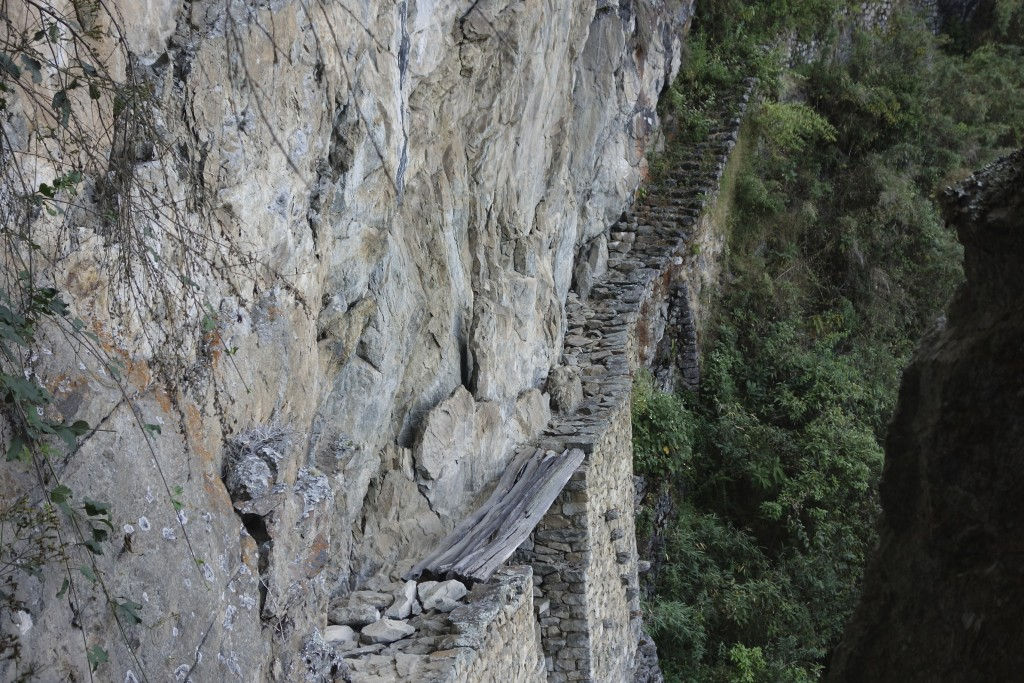 Inca bridge. This trail is no longer open to tourists after someone fell to their death.