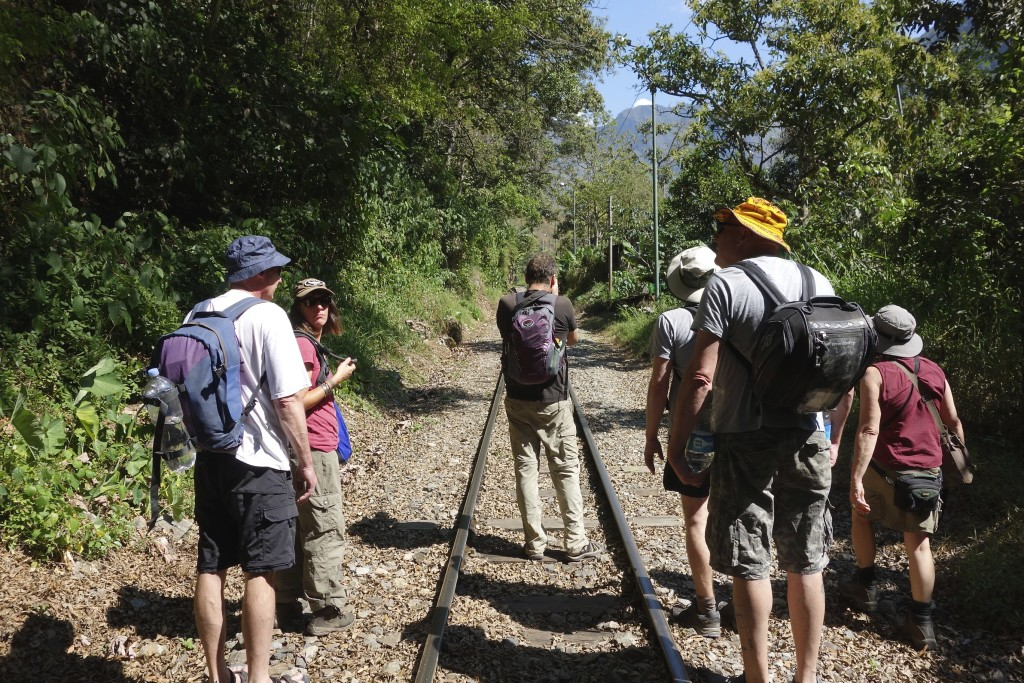 "Time to go - our group of seven (5 Kiwis and 2 gringos) begin the 9-mile hike from a place called ""Hydro"". The journey follows the train tracks all the way to the village of Aguas Calientes."