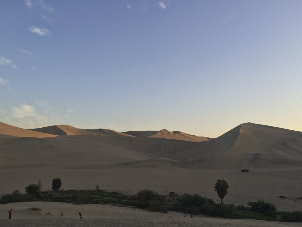 Miles of sand dunes surround the oasis of Huacachina. This was our second night as a group of seven and finding accommodations and secure parking proved to be a challenge.