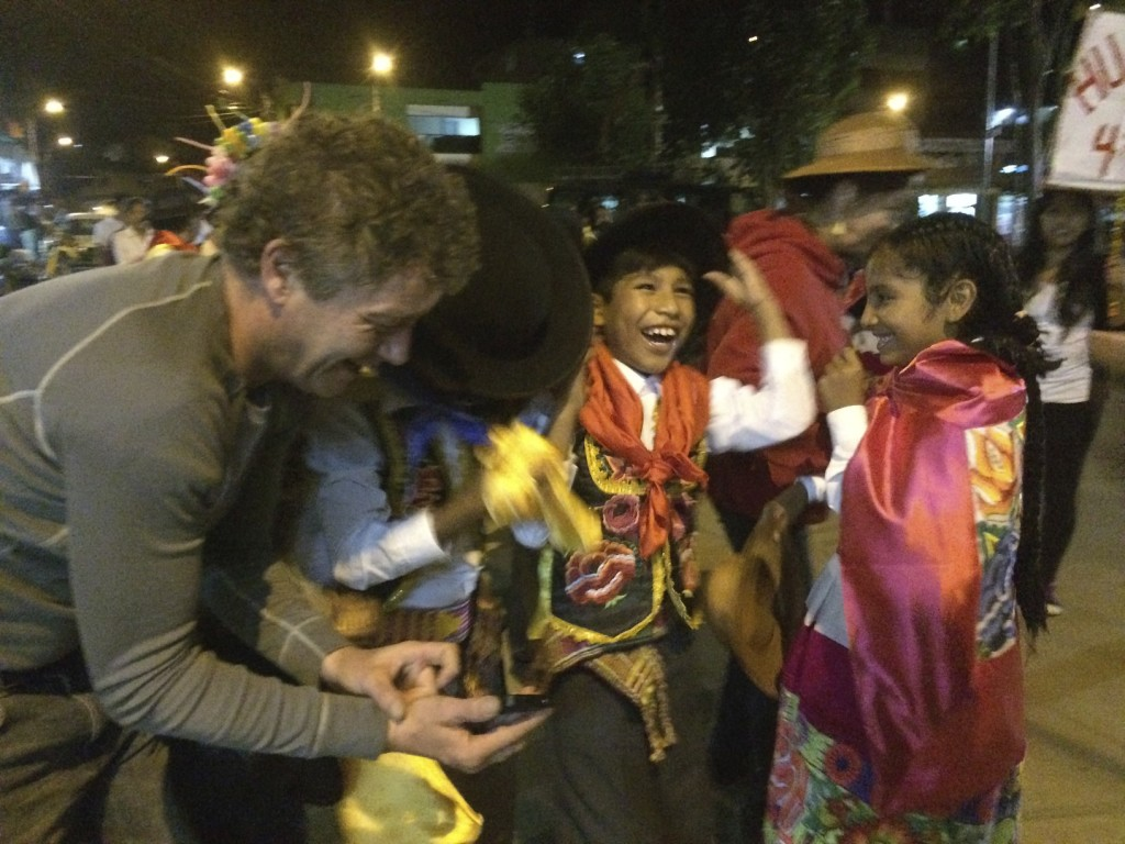 The parade participants loved seeing their pictures on Tim's digital camera. The smiles and good cheer were infectious in Santa Teresa than night.