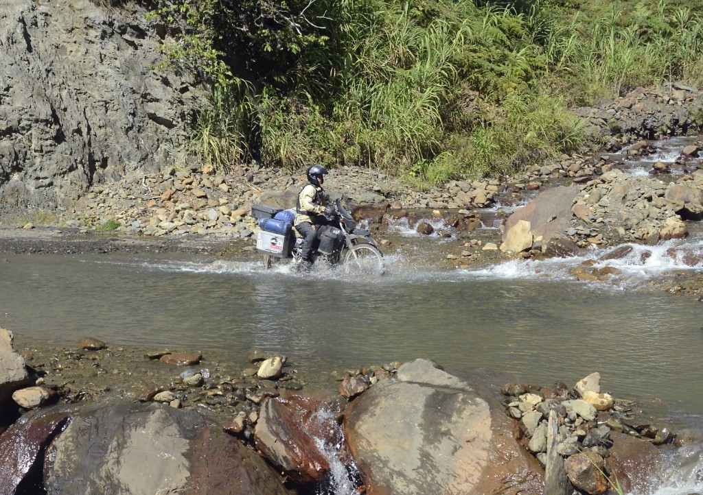 The last 15 miles before arriving in Santa Teresa is dirt track, including a bit of water to cross just to keep things interesting.