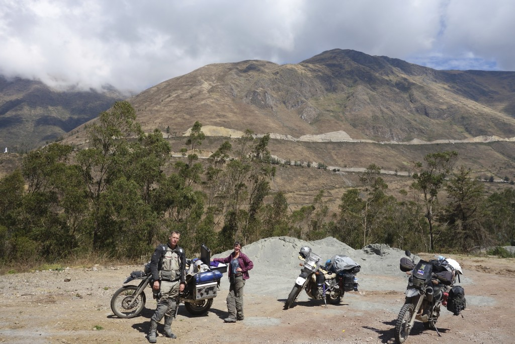 We have been riding with Clinton off and on since Colombia. At this roadside stop the 3 Suzuki DR650s look like a heard of barely tamed wild animals.
