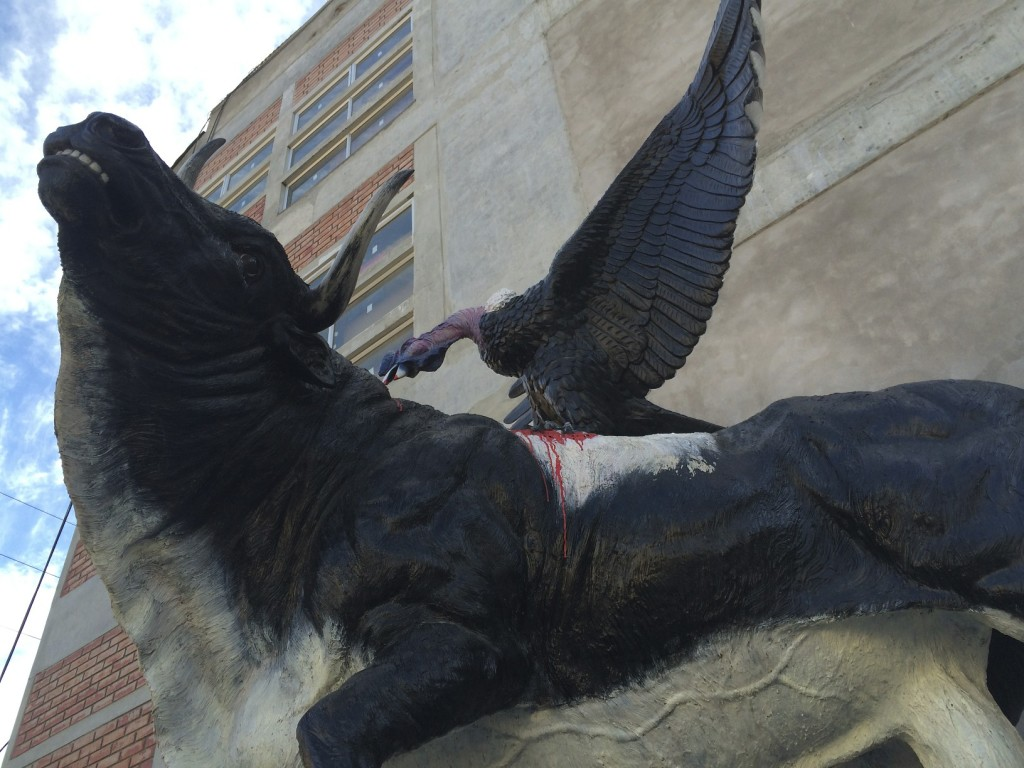 Once a year the little town of Andahuaylas celebrates independence from the Spanish by lashing a live condor to a live bull and watching them go berserk. The statue in the town square celebrates this unique event.