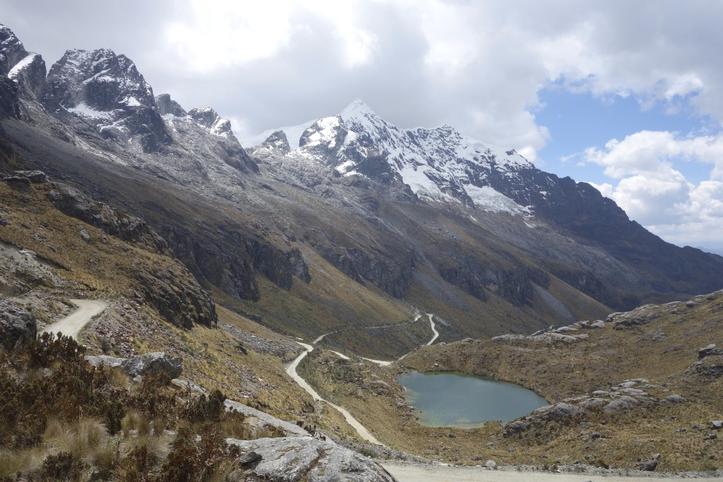 To gain the elevations needed to cross these high mountain passes the roads must switch back and forth. On the GPS screen roads like this one look like a bowl of spaghetti. Cordillera Blanca, Peru.