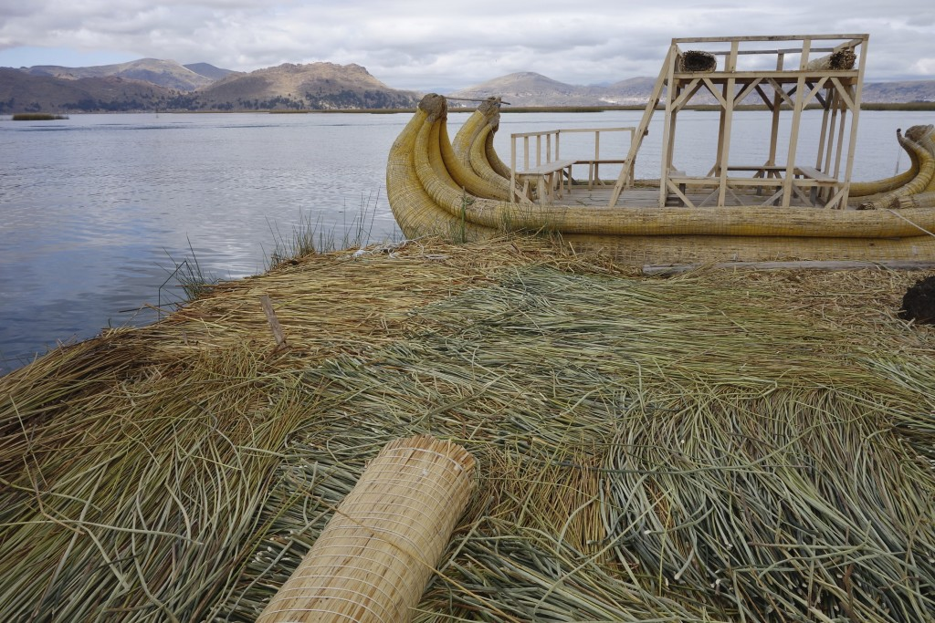 A floating reed island that is one of many of the Islas Uros on Lake Titicaca. The islands are built entirely with totora reeds that grow around the lakeshore. The families that live on these islands make a living off tourists who visit, fishing and hunting lake birds.