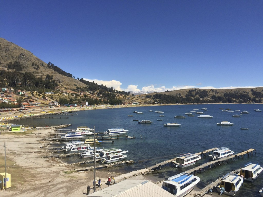 The beach town of Copacabana, Bolivia is on Lake Titicaca. While it may look inviting for a swim the temperature is slightly above freezing and the forecast calls for snow overnight.