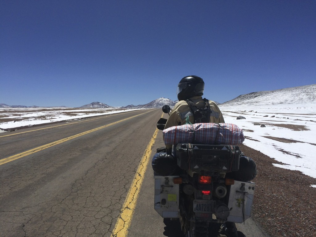 Jama Pass between Chile and Argentina was cold and lonely, the perfect place to break out the heated vests powered by the bike