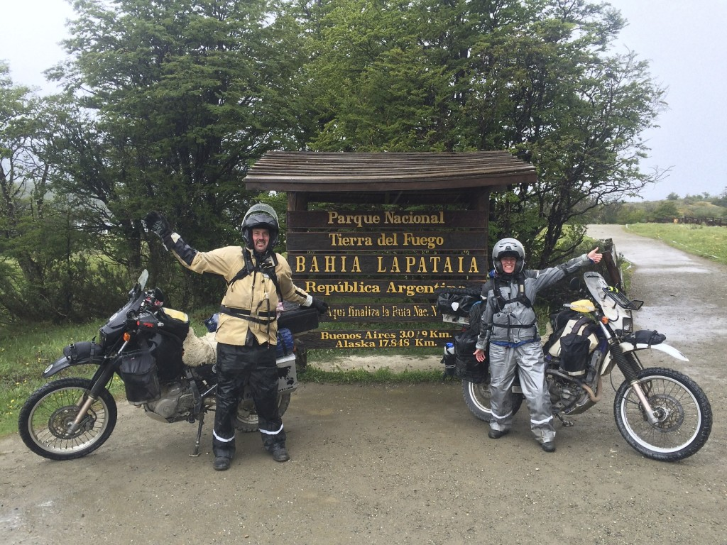 24,000 miles after leaving Seattle we reach the end of the road. This sign marks the end of Ruta 3 in Tierra del Fuego. It is the furthest south we will ever ride on our motorcycles. We can now say that we have ridden from the Arctic Ocean, down the length of the Western Hemisphere, and reached the end of the road at the Beagle Channel and the Southern Ocean.