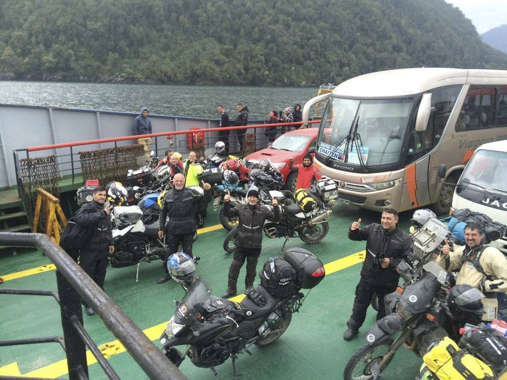 "The Carretera Austral is a ""bucket list"" road for motorcyclists from around the world. On ferry crossing #3 the other riders are also excited to be traveling this fabled route."