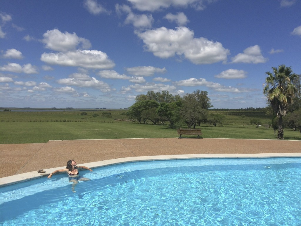 Natural thermal springs are captured in pools at San Nicanor. Living like kings for the price of camping. San Nicanor Estancia, Salto, Uruguay.