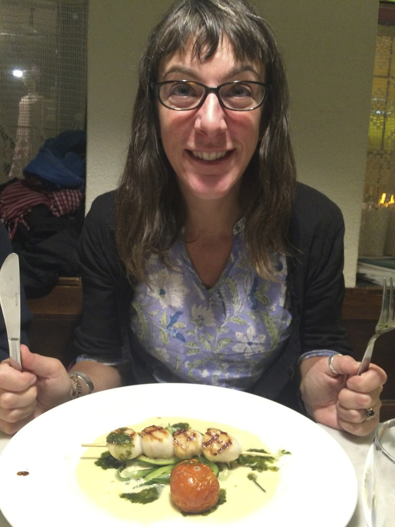 Europe is foodie heaven. Shannon is preparing to tear into some scallops with cream sauce in Brussels.