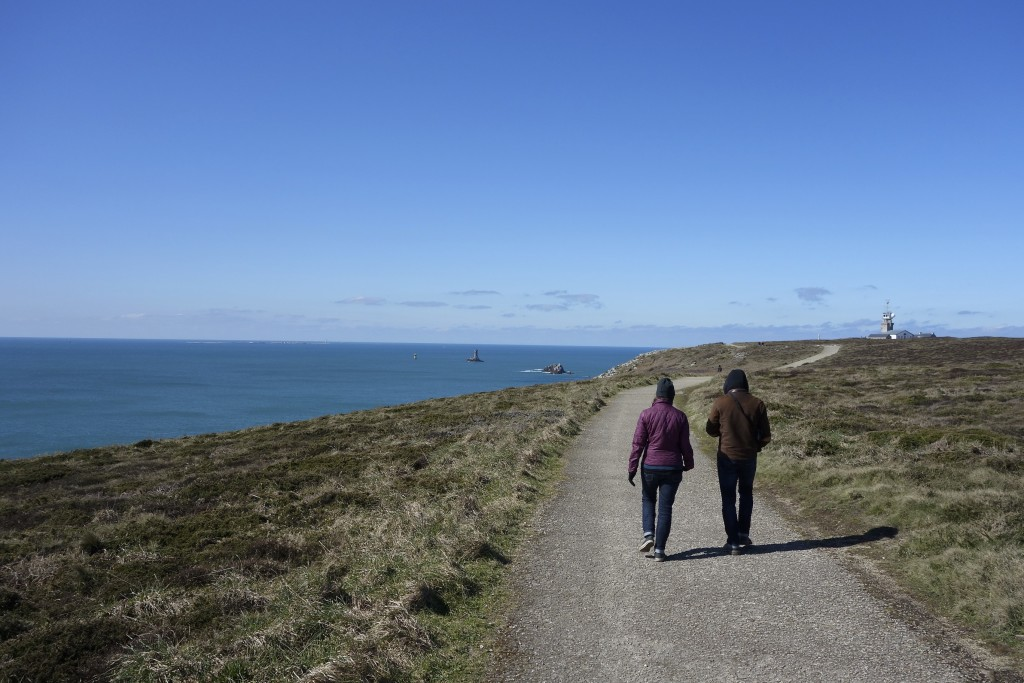 Shannon and our pal Francois Walking to lands end. Brittany, France