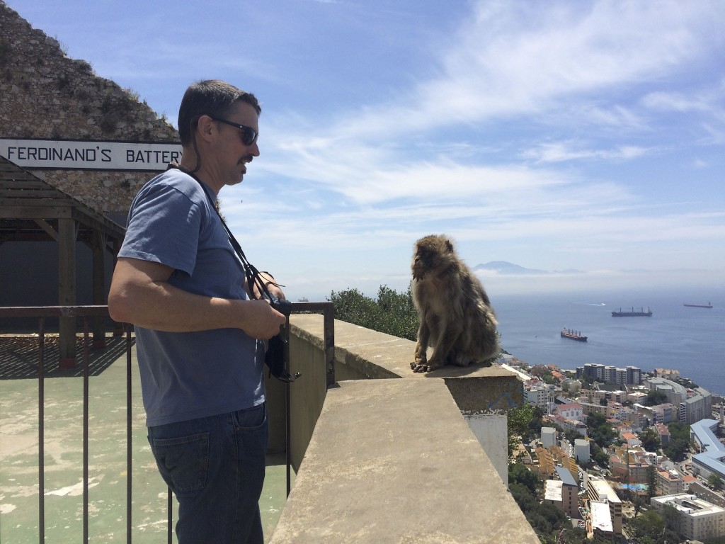 The famed monkeys on the Rock of Gibraltar are used to people. This old gal is the oldest in Gibraltar and moves pretty slow these days. She took an interest in Mike and walked over for a face to face while we were looking at the fantastic view.