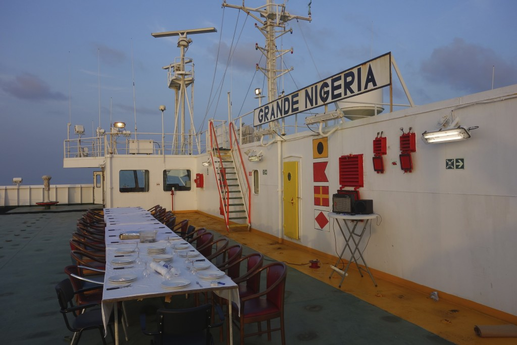 Tables were hauled to the top deck for the BBQ. Everyone aboard ship ate a hearty meal together.