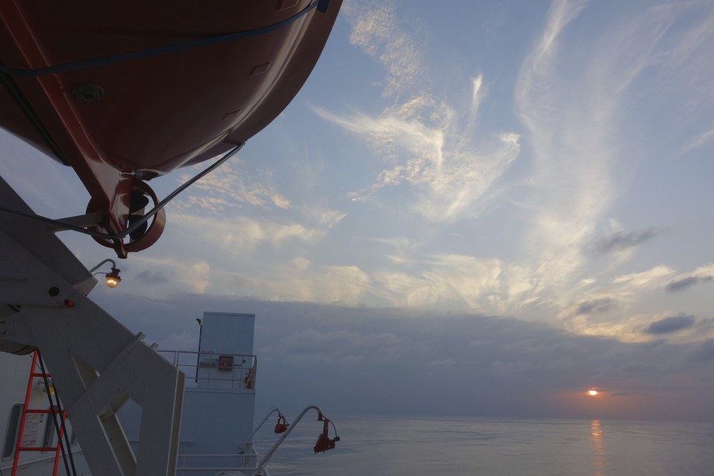 Sunset an the equator, in the middle of the Atlantic Ocean.