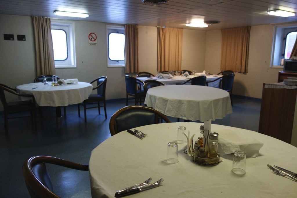 We ate in the officers dining room for all of our meals along with the only other passenger. The crew ate an hour after we did so we passengers spent many hours talking and laughing amongst ourselves.