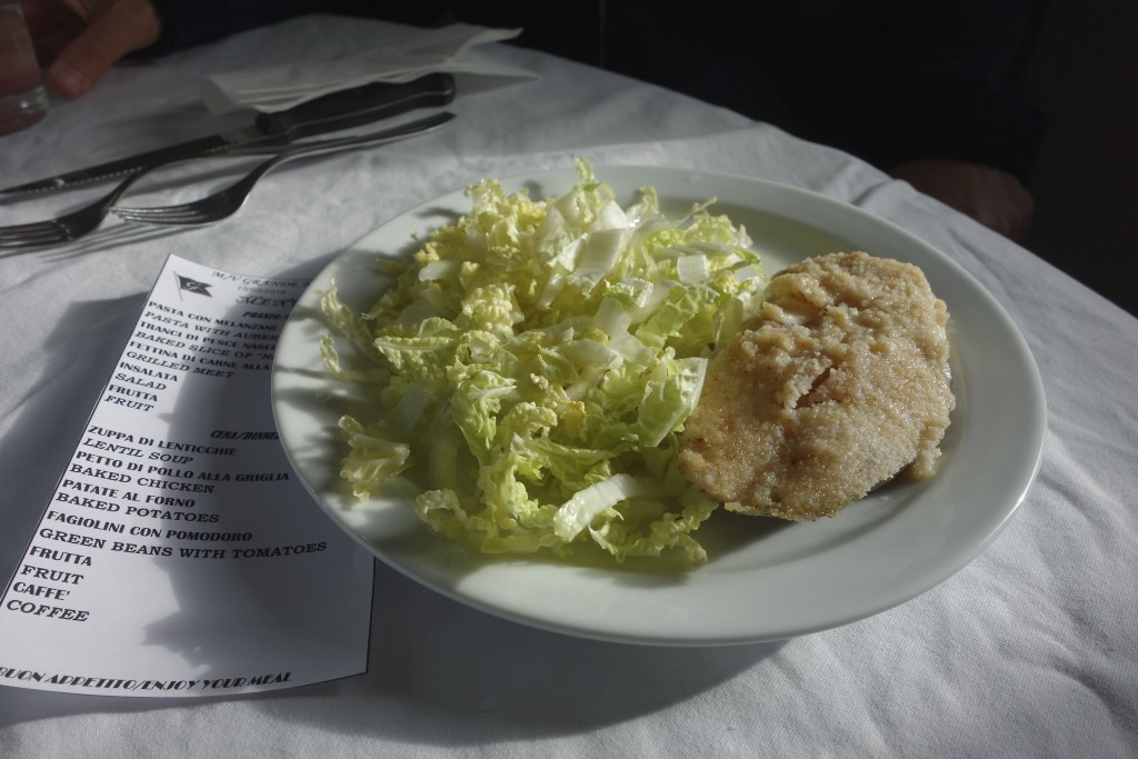 Four course meals for lunch and dinner were the norm and there was even a daily menu printed for the three passengers.