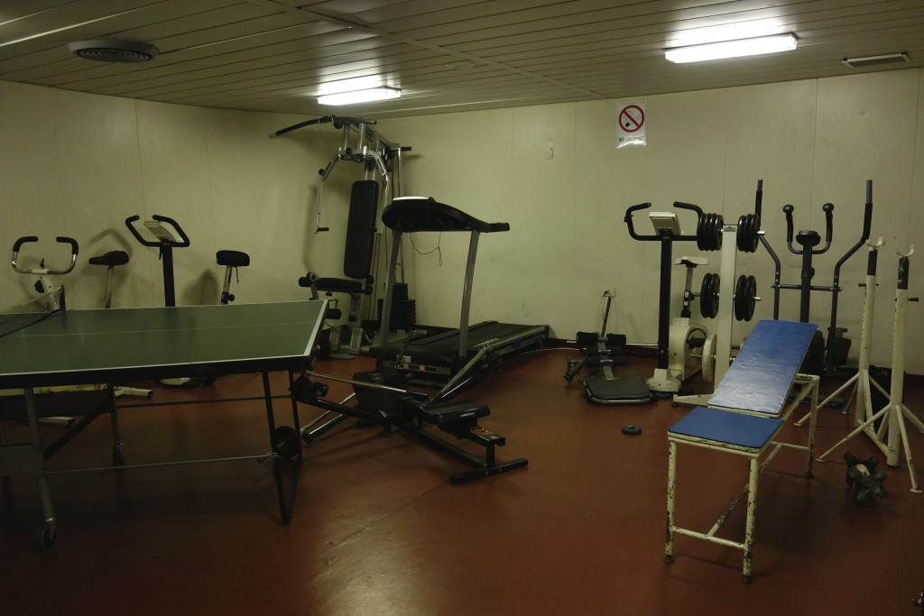 The ship had a well equipped exercise room. To keep from growing fat on all the tasty food we used the gym each morning.
