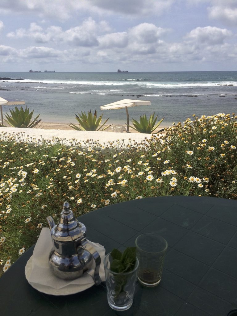 Moroccan whiskey, AKA mint tea, is a staple drink in this country and no rest stop is complete without it. Just outside Casablanca we found a lovely little seaside cafe to take in the cool breeze.