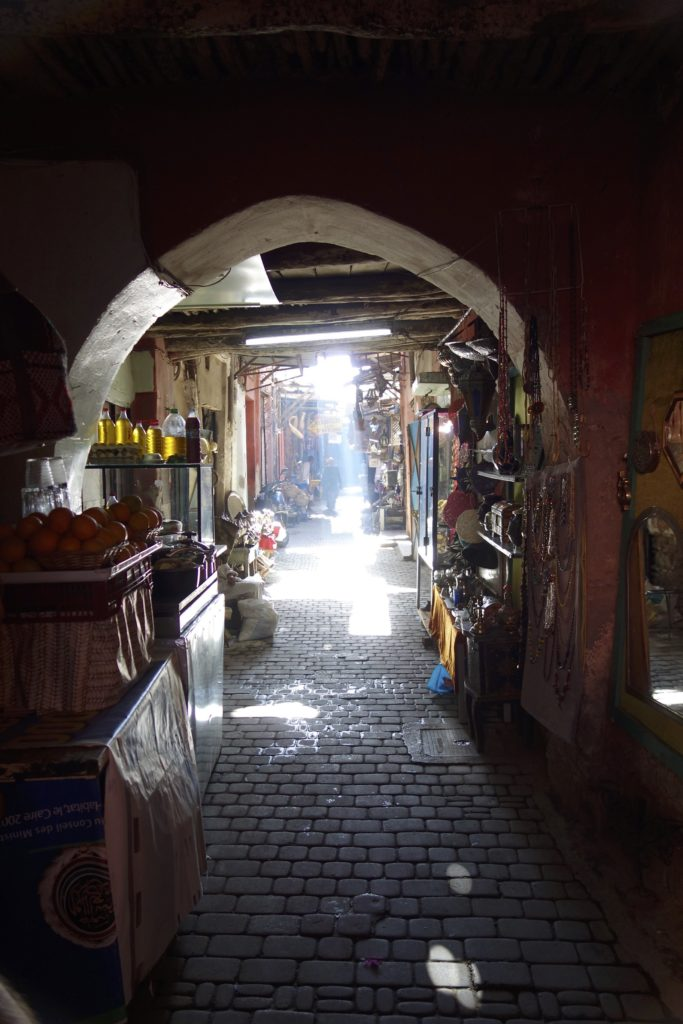 The old medina in Marrakech is a sight to behold. Kilometers of twisted and tortured alleys and narrow streets lined with shops selling everything imaginable.