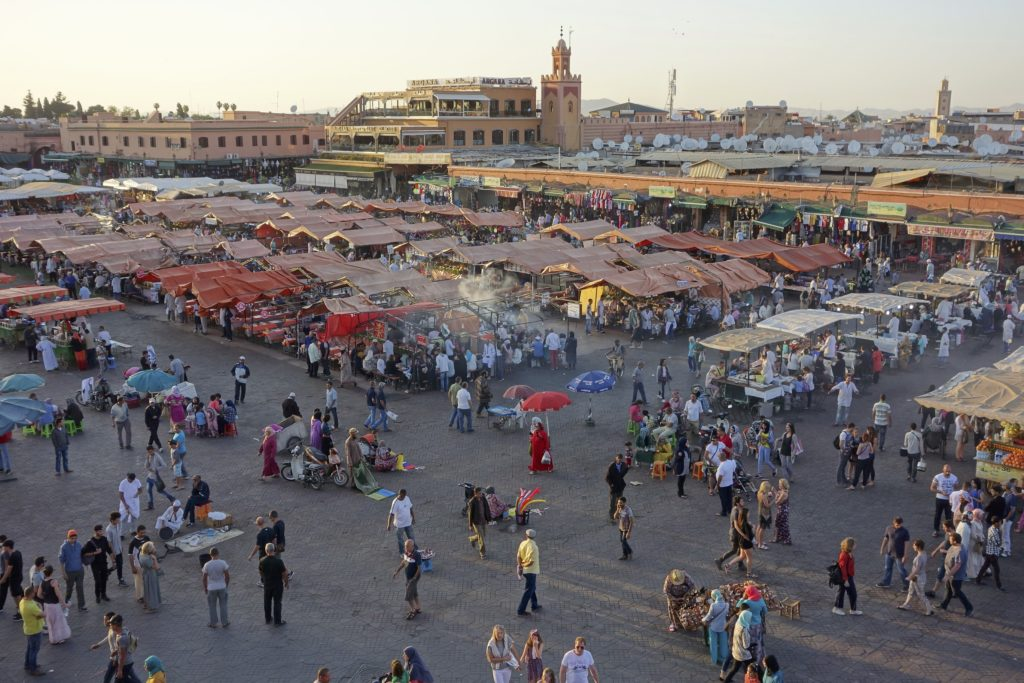 The Jemma El-Finaa market in Marrakech as the sun goes down. This is a wild and colorful place but you better have some thick skin, the pressure on tourists to buy something or otherwise part with their Dirhams can be a royal pain in the ass.