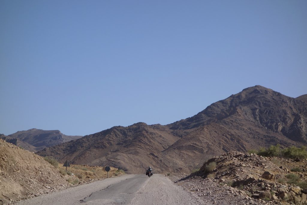 Heading out of the Sahara and back into the Atlas Mountains, Shannon gets well out in front of me.